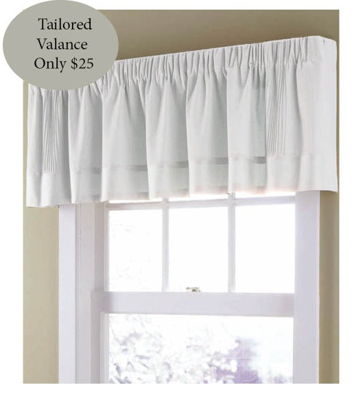 White Soft Linen Lined Tailored Valance